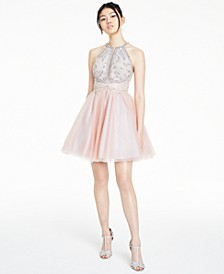 Juniors' Beaded Tulle Dress