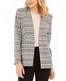 Collarless Plaid Blazer