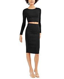 Bodycon Cropped Crew-Neck Sweater, Created For Macy's
