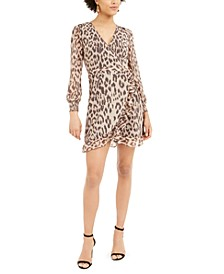 Ruffled Animal-Print Wrap Dress, Created For Macy's