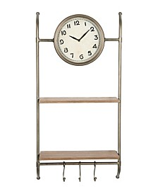 Creative Co-op Wall Clock with Shelves and Hooks