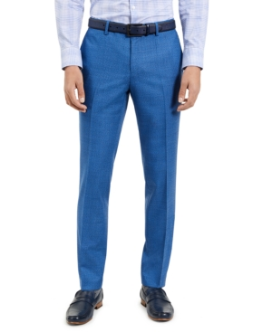 Hugo Men's Slim-Fit Blue/Black Check Suit Pants, Created for Macy's