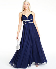 Say Yes to the Prom Juniors' Rhinestone-Trim Gown, Created for Macy's
