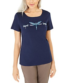 Cotton Embellished Dragonfly Top, Created For Macy's