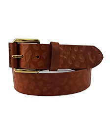 Accessories Leopard-Print Embossed Casual Leather Belt