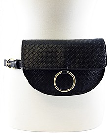 Crescent Shaped Basketweave Convertible Belt Bag