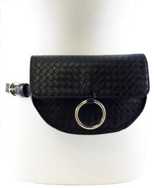 Crescent Shaped Basketweave Convertible Belt Bag