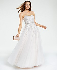 Juniors' Embellished Embroidered Ball Gown, Created for Macy's