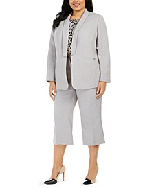 Plus Size Parker Twill Blazer, Printed Top & Twill Cropped Pants
