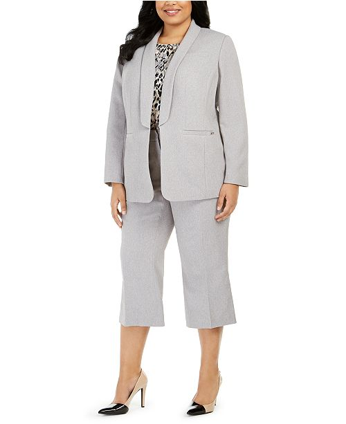 Calvin Klein Plus Size Parker Twill Blazer, Printed Top & Twill Cropped Pants