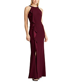Embellished-Strap Crepe Ruffle Gown