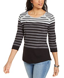 Colorblocked Striped Rivet-Trimmed Top, Created for Macy's