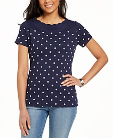 Cotton Dot-Print Scallop-Neck Top, Created For Macy's