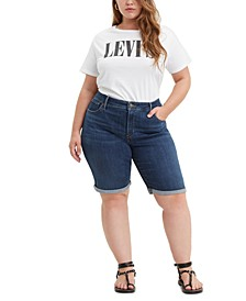 Trendy Plus Size Shaping Denim Bermuda Shorts
