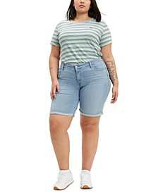 Trendy Plus Size Shaping Denim Bermuda Shorts