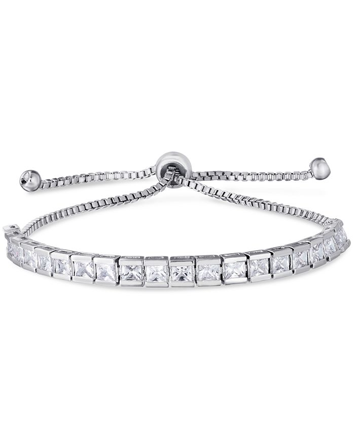 Macy's - Cubic Zirconia Rounds Adjustable Slider Bolo Bracelet in Fine Silver Plate