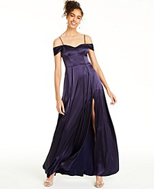 Juniors' Satin Cold-Shoulder Gown
