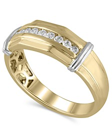 Men's Certified Diamond (1/4 ct. t.w.) Ring in 14K Yellow and White Gold