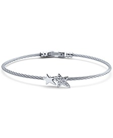 White Topaz Double Star Cable Bracelet (1/10 ct. t.w.) in Sterling Silver & Stainless Steel