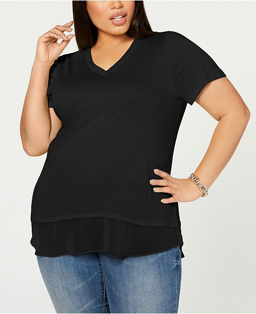 INC International Concepts INC Plus Size Short-Sleeve V-Neck Tunic, Created for Macy's