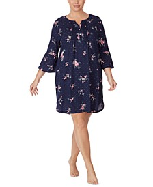 Plus Size Cotton Knit Floral-Print Flounce Sleeve Nightgown