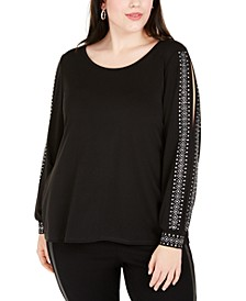 Plus Size Rhinestone-Trim Split-Sleeve Top
