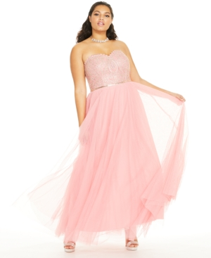 1950s Plus Size Dresses, Swing Dresses City Studios Trendy Plus Size Embellished Embroidered Tulle Gown $71.64 AT vintagedancer.com