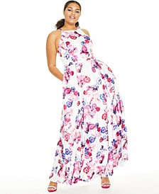 Trendy Plus Size Belted Metallic Dot & Floral-Print Gown