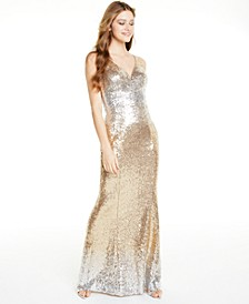 Juniors' Ombré Sequin V-Neck Gown