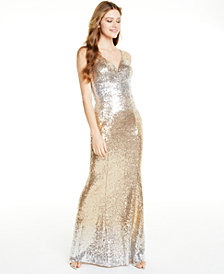 Crystal Doll Juniors' Ombré Sequin V-Neck Gown