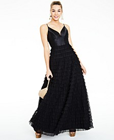 Juniors' Ruffled-Skirt Gown, Created for Macy's