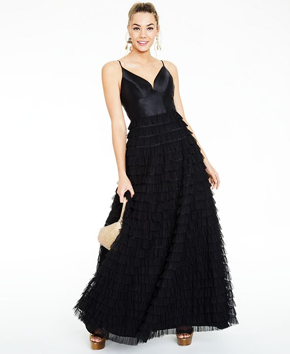 Say Yes to the Prom Juniors' Ruffled-Skirt Gown, Created for Macy's