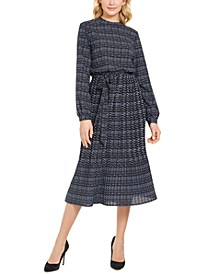 Printed Long-Sleeve A-Line Dress