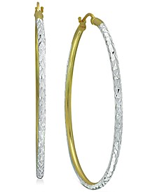 """Medium Two-Tone Textured Hoop Earrings in Sterling Silver & 18k Gold-Plate, 1.37"""", Created for Macy's"""