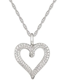 "Diamond Heart 18"" Pendant Necklace (1/2 ct. t.w.) in 14k White Gold"