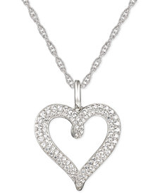 "Diamond Heart 18"" Pendant Necklace (1/2 ct. t.w.) in 14k White Gold"