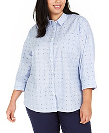 Plus Size Cotton Clip-Dot Button-Up Shirt, Created for Macy's