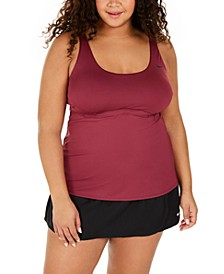 Plus Size Solid Essential Scoop-Neck Tankini Top & Element Swim Boardskirt