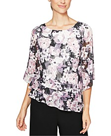 Printed Asymmetrical-Hem Top