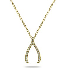 Cubic Zirconia Wishbone Slide Pendant in 18k Gold Plated Sterling Silver or Sterling Silver