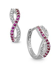 Red Cubic Zirconia Infinity Huggie Hoop Earrings in Sterling Silver