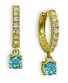 Clear & Blue Cubic Zirconia Dangle Drop Huggie Hoop Earring in 18k Gold Plated Sterling Silver