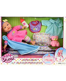 "12"" Baby Doll Care Gift Set with Playpen"