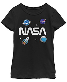 NASa Big Girl's Space Planet Rocket Sticker Emoji Short Sleeve T-Shirt