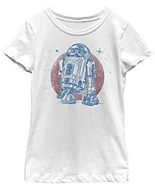 Star Wars Big Girl's R2-D2 Vintage-Like Neon Retro Sparkly Badge Short Sleeve T-Shirt