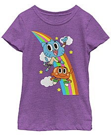 Cartoon Network Big Girls Gumball and Darwin Rainbow Clouds Short Sleeve T-Shirt