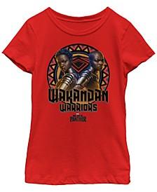 Marvel Big Girl's Black Panther Movie Warrior Circle Short Sleeve T-Shirt