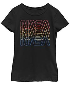 NASa Big Girl's Repeating Rainbow Logo Stars Retro Vintage-Like Short Sleeve T-Shirt
