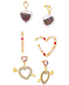Gold-Tone 3-Pc. Set Crystal Heart Earrings