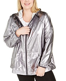 Plus Size Hooded Shine Windbreaker Jacket, Created for Macy's